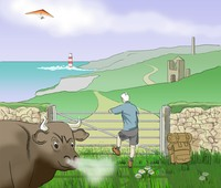 Cover illustration for Land's End to J O'Groats Walk book